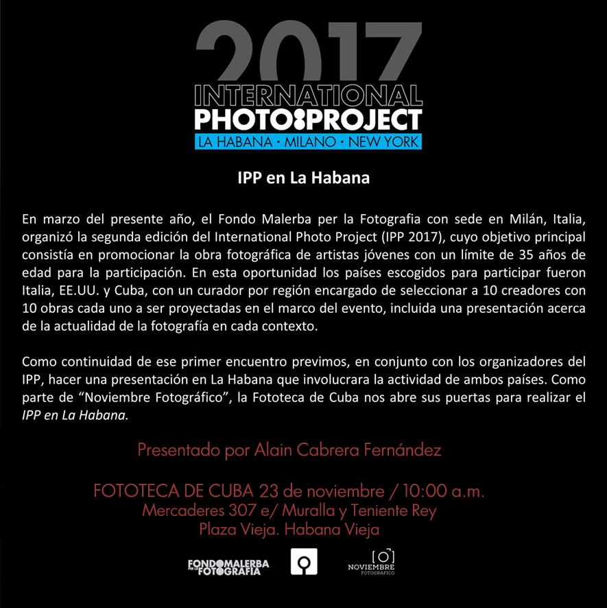 IPP 2017 AL NOVIEMBRE FOTOGRAFICO DI L'AVANA